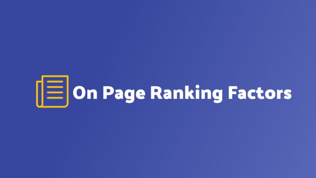 On page ranking factors